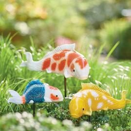 Koi Fish Garden Stakes, Set of Three