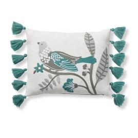 Embroidered Bird Pillow