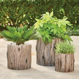 Faux Bois Planter, Old Oak
