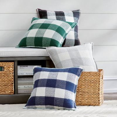 Buffalo Check Pillows - Blue - Grandin Road