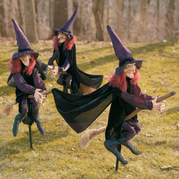 Staked Halloween Witches