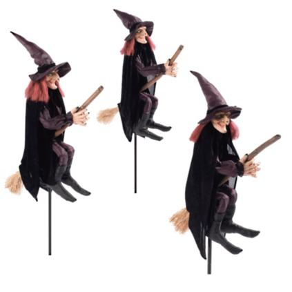 Staked Halloween Witches, Set of Three | Grandin Road