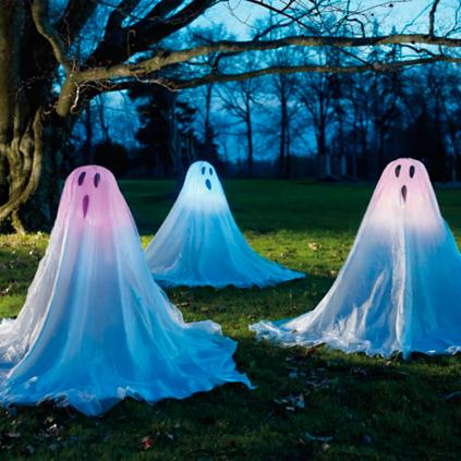 Lighted Staked Halloween Ghosts, Set of Three | Grandin Road