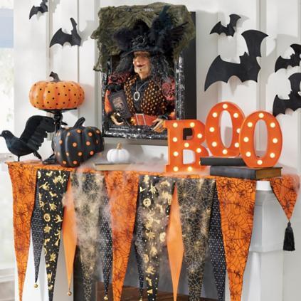 Bewitching Halloween Mantel Scarf Grandin Road