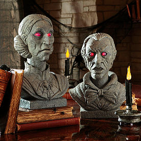 Velma and Evander Interactive Talking Halloween Busts