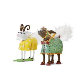 Set of Two Donkey and Goat Nativity Figures