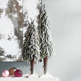 Set of Two Snowy Trees