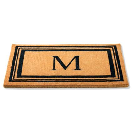front monogrammed logo border with custom black mats doormat size door personalized entry
