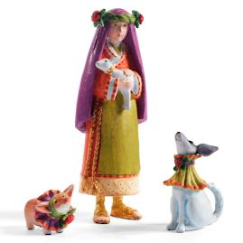Shepherdess with Collie and Corgie Nativity Figures