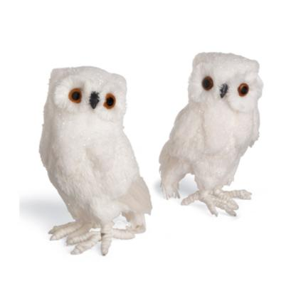Set Of Two Small Snowy Owls Grandin Road