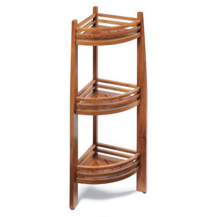 Teak Three-tier Shelf and Corner Caddy | Grandin Road