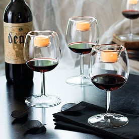 Set of Four Wine Glass Votive Candle Holder