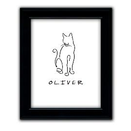 Personalized Cat Line Drawing Artwork