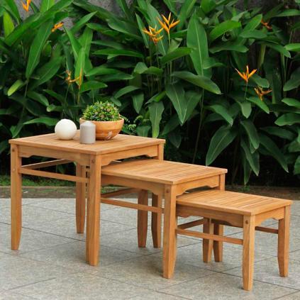 Set Of Three All Natural Teak Nesting Tables