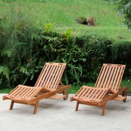 All-natural Teak Pool Lounger