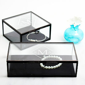 Personalized Antique Glass Shadow Jewelry Box