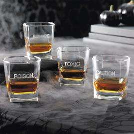 Set of Four What's Your Poison Rocks Glasses