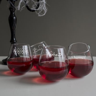 Witchy Woman Tipsy Wine Glasses Grandin Road