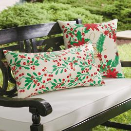 Joyful Poinsettia & Holly Berry Pillows