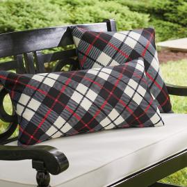 Joyful Black and Red Plaid Pillow