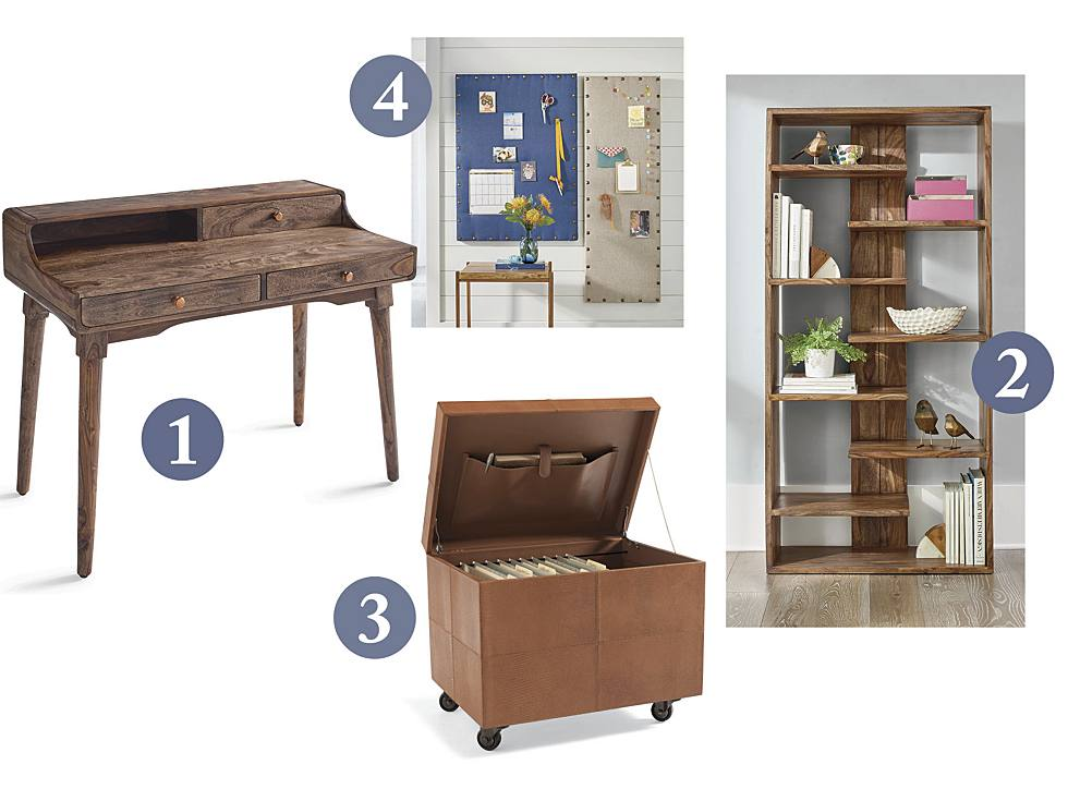 Grayson Writing Desk, Atlas Sheesham Bookcase, Mobile File Ottoman, Burlap Bulletin Board