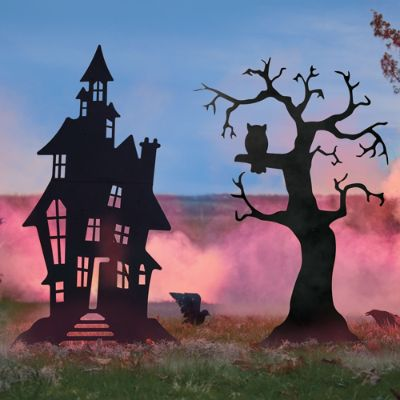 Silhouette Haunted House and Spooky Tree