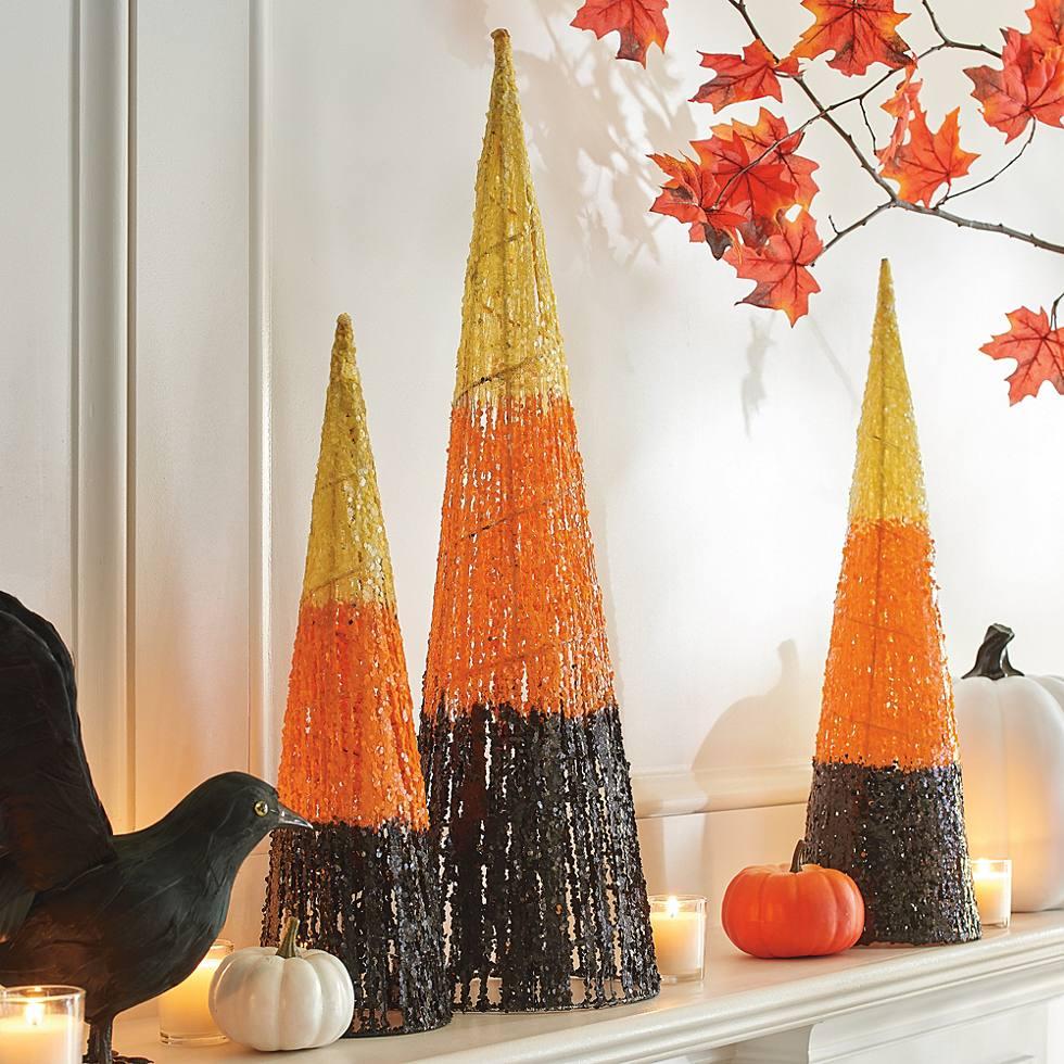 halloween cone trees set of three grandin road
