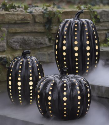 Halloween Black Illuminated Pumpkins