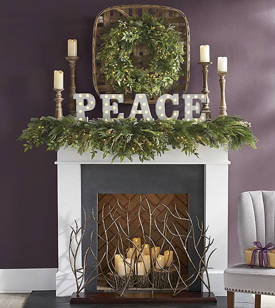 christmas hearth decorated in simple farmhouse style