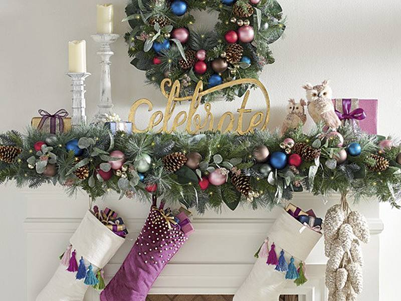 how to decorate a christmas mantel unexpected bright - Christmas Mantel Decorations Garland
