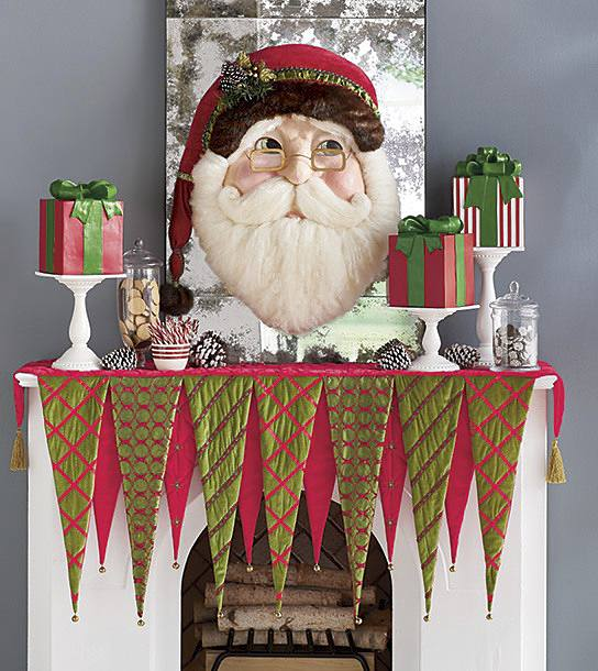 fun and festive mantel scarf and decor