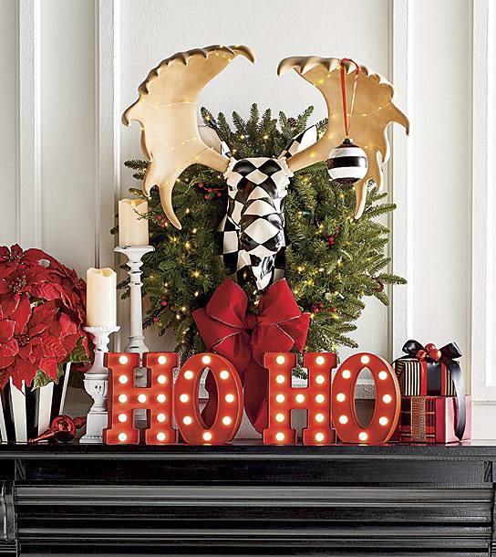 ho ho christmas hearth decor with moose