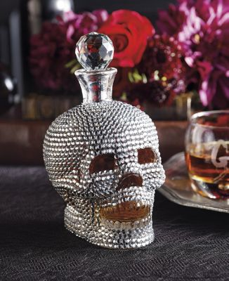 Jeweled Halloween Skull Decanter