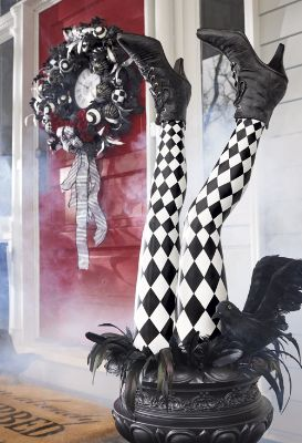 Halloween Harlequin Witch Leg Stakes
