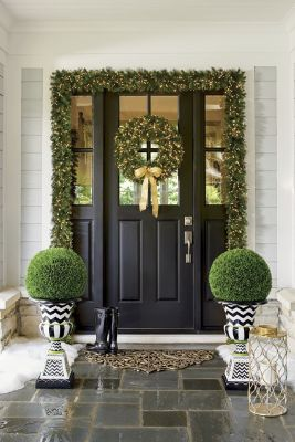 And What A Perfect (and Easy) Way To Frame A Christmas Front Door Look! Top  Them With Our No Maintenance, Evergreen Faux Podocarpus.