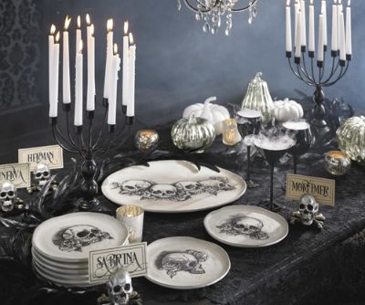 Sketched Skull Serving Pieces & Bewitching Halloween Party Buffet Fast\u2014Mystery Solved - Grandin ...