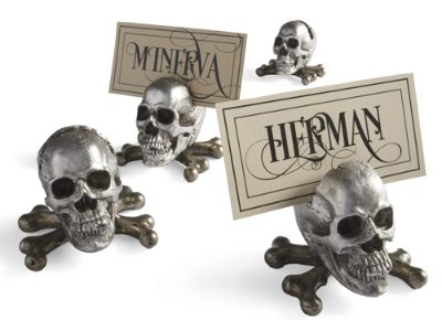 Sketched Skull Card Holders, Set of Four