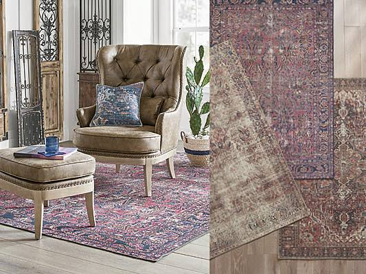 digitally printed rug that looks vintage