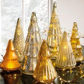 mercury glass led tree collection - Mercury Glass Christmas Trees
