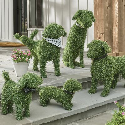 Faux Boxwood Garden Dogs Grandin Road