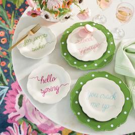 Polka Dot Dinner Plates u0026 Easter Word Plates & Easter Word Plates Set of Four   Grandin Road