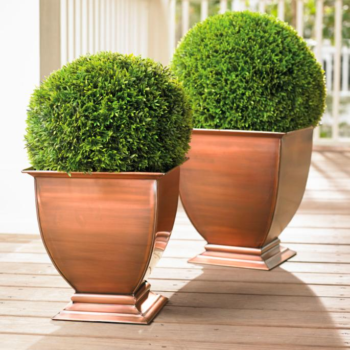 Copper Footed Outdoor Planters | Grandin Road