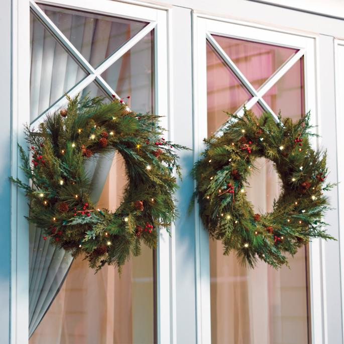 Christmas Wreaths For Double Front Doors: Double Sided Wreath