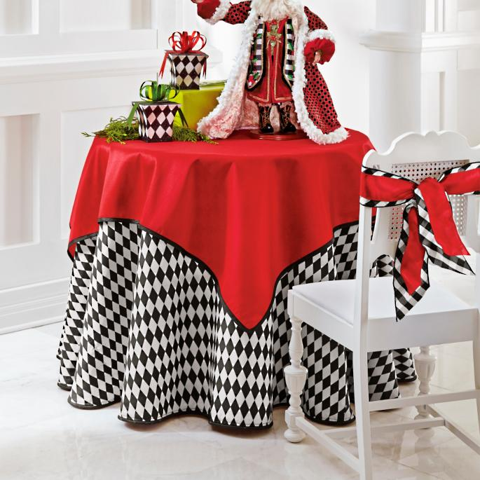 Faux Dupioni Table Topper And Harlequin Tablecloth