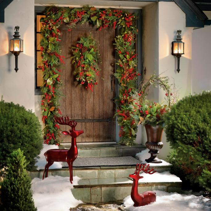 Global Decor Moves Outdoors Bombay Outdoors: Cordless Winter Garden Outdoor Greenery Collection